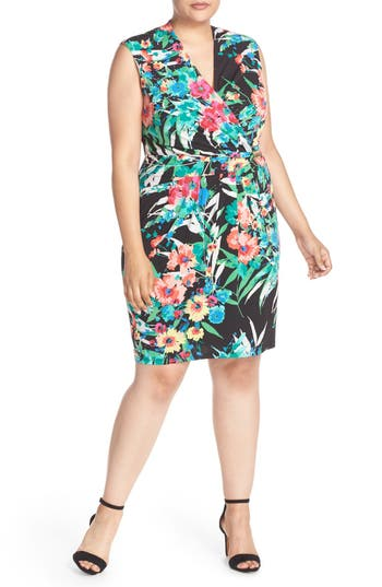 Ellen Tracy Print Jersey Faux Wrap Dress (Plus Size)