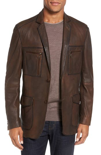 Flynt Distressed Leather Sport Coat