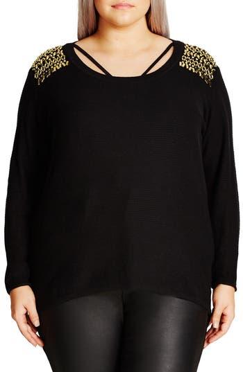 City Chic Embellished Shoulder Sweater (Plus Size)