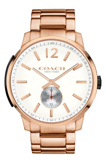 COACH 'Bleeker' Round Bracelet Watch, 46mm