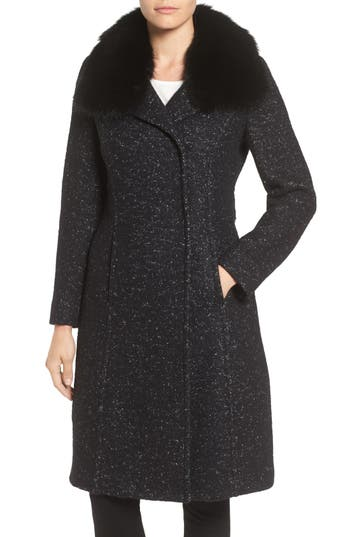 Elie Tahari Genuine Raccoon Fur Collar Coat