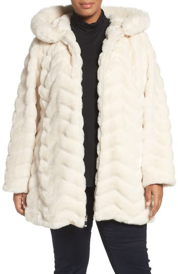 Gallery Hooded Chevron Faux Fur Coat (Plus Size)