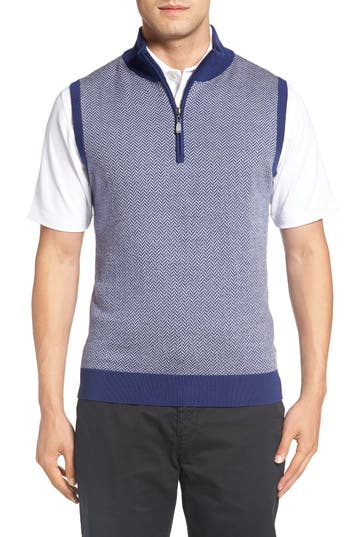 Bobby Jones Quarter Zip Herringbone Merino Wool Sweater Vest