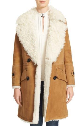 Burberry Candleton Removable Collar Genuine Shearling Jacket