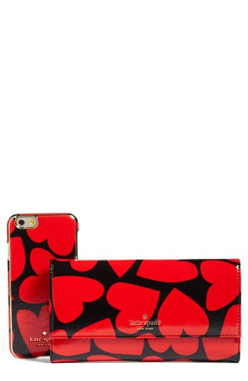 kate spade new york scattered hearts iPhone 7 leather wallet