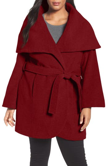 Tahari Wool Blend Wrap Coat (Plus Size)