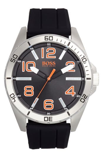 BOSS Orange 'Big Time' Silicone Strap Watch, 48mm