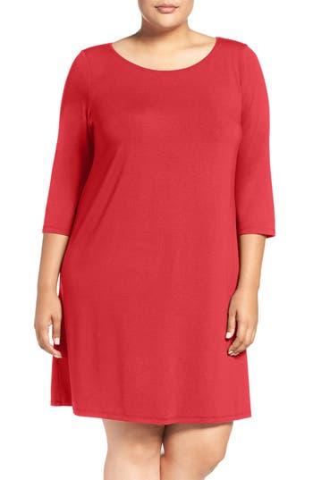 Eileen Fisher Ballet Neck Jersey Dress (Plus Size)