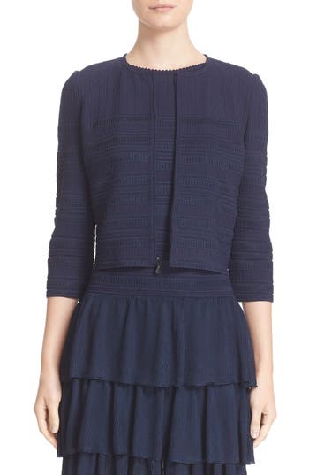 St. John Collection Embossed Island Knit Cardigan