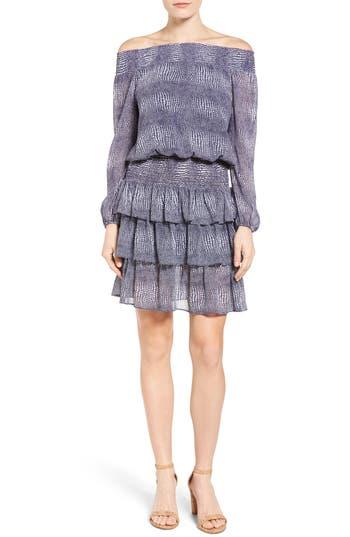 MICHAEL Michael Kors Zephyr Print Chiffon Smocked Off the Shoulder Dress