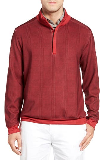 Bobby Jones 'XH20' Glen Plaid Stretch Quarter Zip Golf Pullover