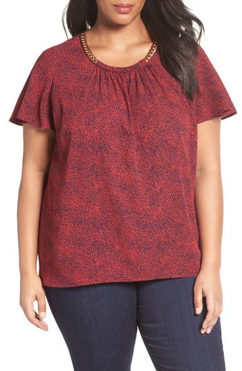 MICHAEL Michael Kors Kota Print Chain Trim Top (Plus Size)