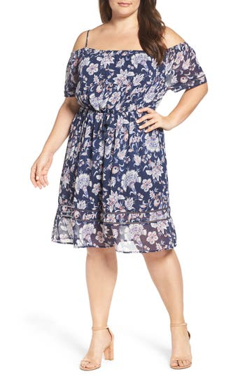 Lucky Brand Drawstring Waist Cold Shoulder Dress (Plus Size)