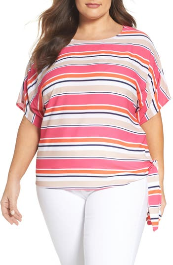 MICHAEL Michael Kors Madison Stripe Side Tie Top (Plus Size)