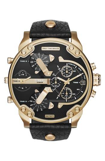 DIESEL® 'Mr. Daddy 2.0' Chronograph Leather Strap Watch, 57mm