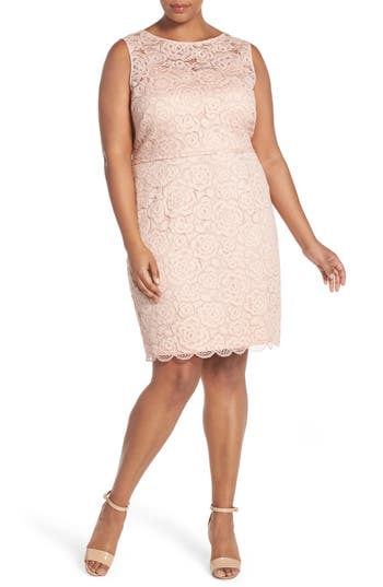 Ellen Tracy Sleeveless Lace Sheath Dress (Plus Size)