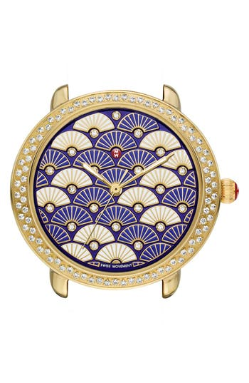 MICHELE 'Serein 16 Diamond' Diamond Fan Mosaic Dial Watch Case, 36mm x 34mm