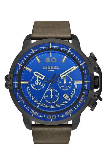 DIESEL® 'Deadeye' Chronograph Leather Strap Watch, 51mm x 56mm