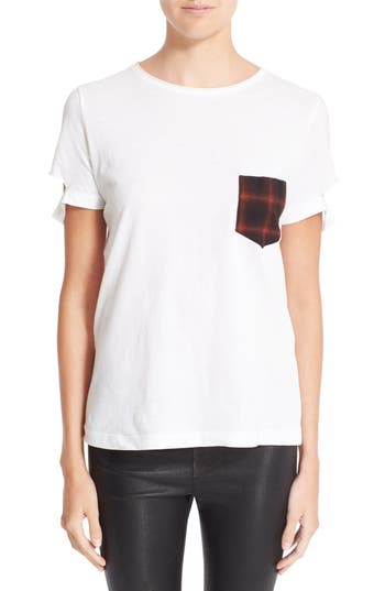 Helmut Lang Plaid Pocket Slash Tee
