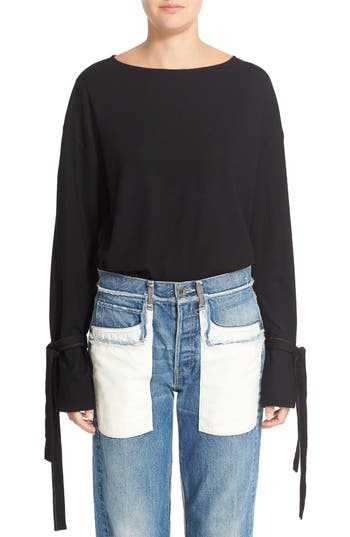 Helmut Lang Tie Cuff Wool Sweater