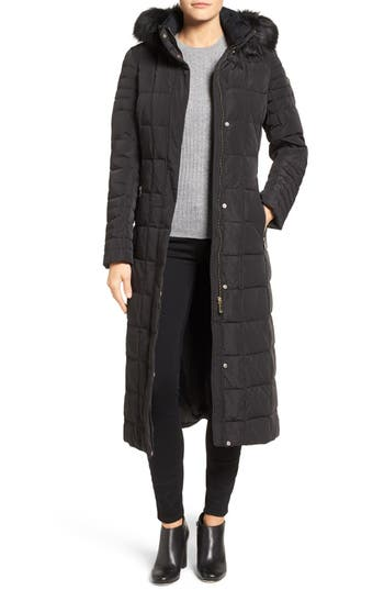 Calvin Klein Long Down & Feather Fill Coat with Detachable Faux Fur Trim Hood