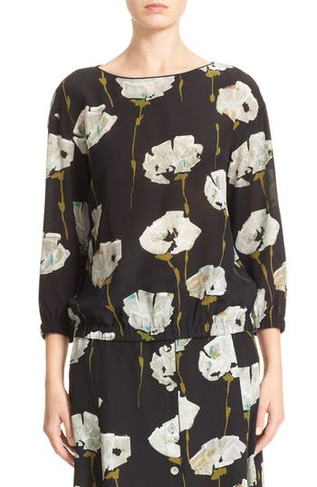 Lafayette 148 New York Evie Floral Print Silk Blouse