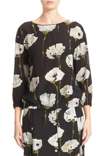 Lafayette 148 New York Evie Floral Print Silk Blouse