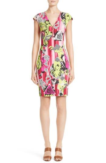 Versace Collection Print Jersey Cap Sleeve Dress