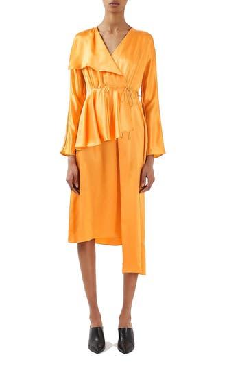 Topshop Boutique Satin Peplum Wrap Dress