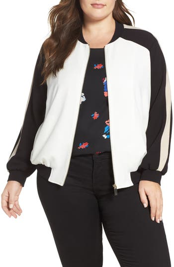 Vince Camuto Colorblock Bomber Jacket (Plus Size)