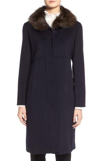 Ellen Tracy Wool Blend Coat with Genuine Fox Fur