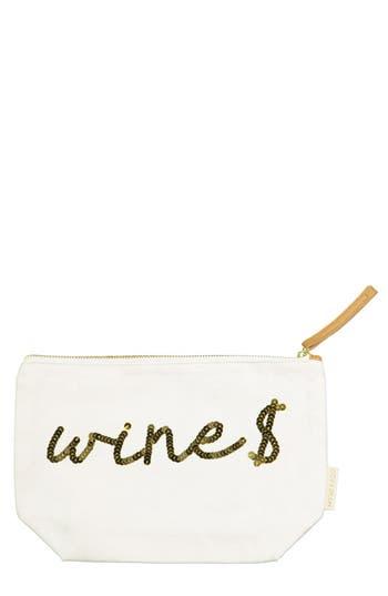 Bow & Drape 'Wine Money' Zip Canvas Pouch