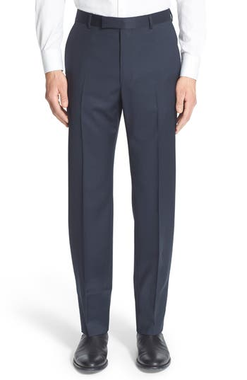 Z Zegna Flat Front Check Wool Trousers