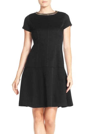 Ellen Tracy Embellished Neck Piqué Drop Waist Dress (Regular & Petite)