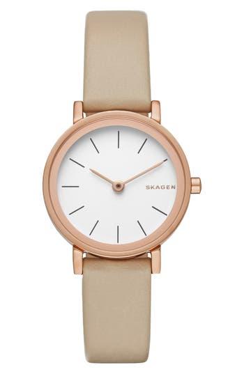 Skagen 'Hald' Leather Strap Watch, 26mm