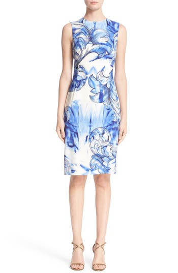 Versace Leaf Print Stretch Cady Sheath Dress