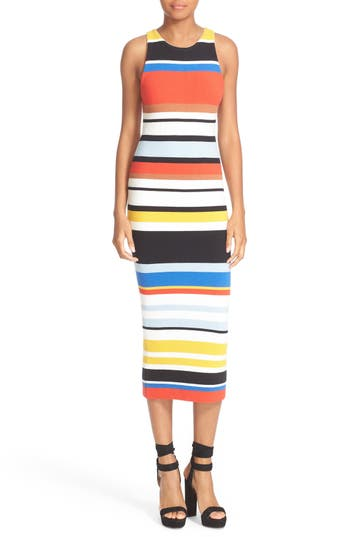 Alice + Olivia Jenner Stripe Knit Midi Dress