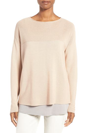 Eileen Fisher Sleek Ribbed Tencel® Sweater (Regular & Petite)