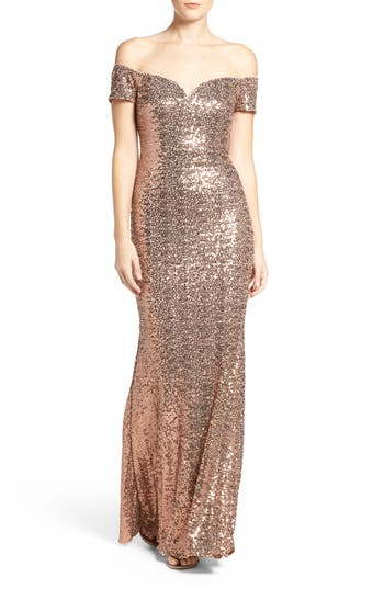 Badgley Mischka Off the Shoulder Sequin Gown