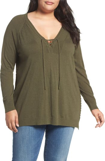 Lucky Brand Lace-Up Sweater (Plus Size)