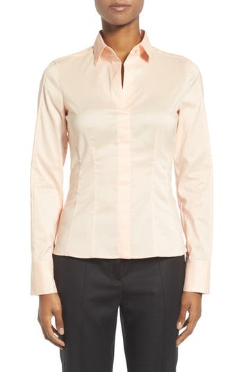 BOSS Bashina Cotton Blend Poplin Shirt (Regular & Petite)