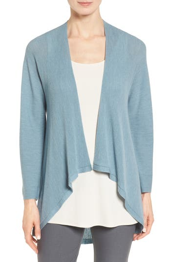Eileen Fisher Drape Front Wool Cardigan