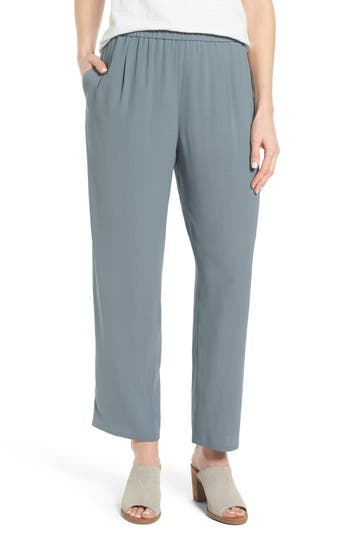 Eileen Fisher Silk Georgette Crepe Straight Ankle Pants (Regular & Petite)