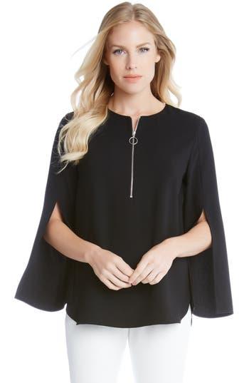 Karen Kane Slit Sleeve Crepe Half-Zip Top