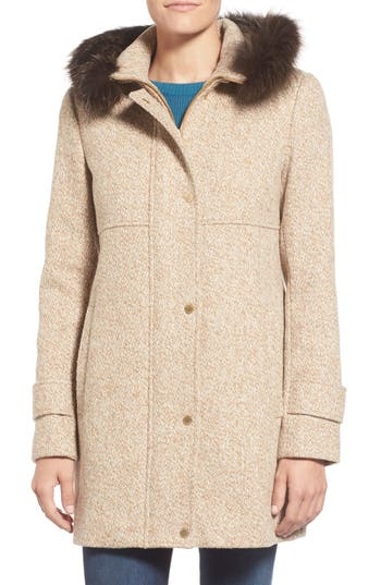 Ellen Tracy Genuine Fox Fur Trim Tweed Duffle Coat (Regular & Petite)