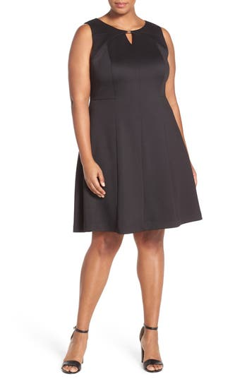 Ellen Tracy Keyhole Detail Scuba Knit Fit & Flare Dress (Plus Size)