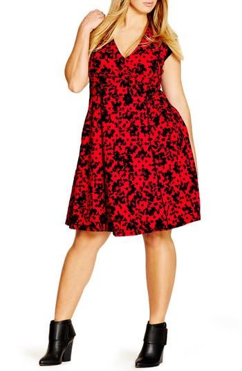City Chic Flocked Cap Sleeve V-Neck Dress (Plus Size)