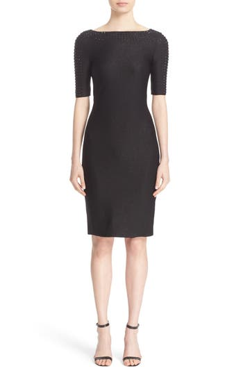 St. John Collection Embellished Shimmer Knit Bateau Neck Dress