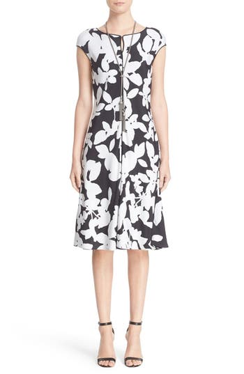 St. John Collection Abstract Floral Print Dress