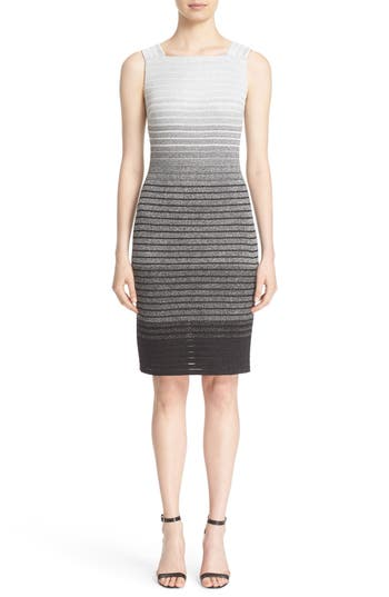 St. John Collection Metallic Dégradé Peekaboo Dress